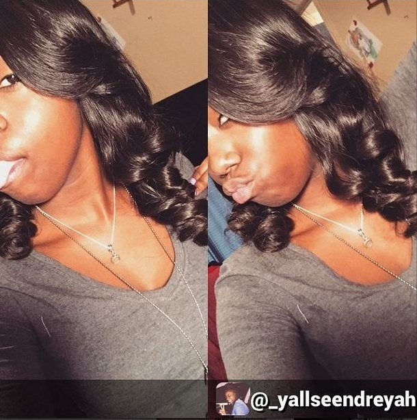 Client Selfie with Brazilian Body Wave Bundle Deal