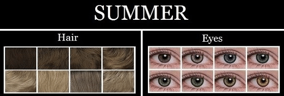 summer hair and eye colors